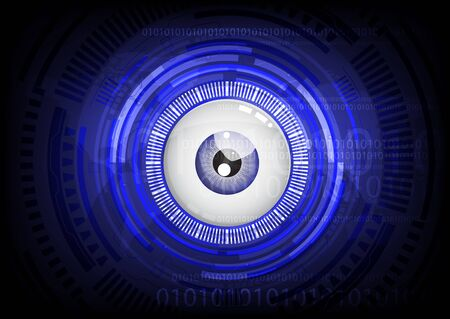 eye ball: blue eye ball abstract cyber future technology concept background, illustration. Stock Photo