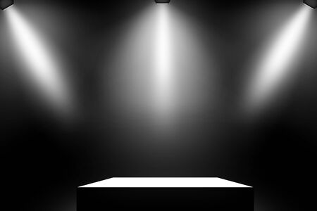 Black podium. Pedestal. Scene. Spotlight.