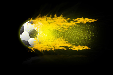 football soccer balls. burning fire flames football