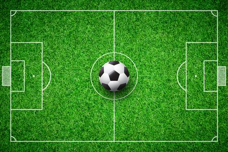penalty: football field soccer ball green grass stadium background Stock Photo