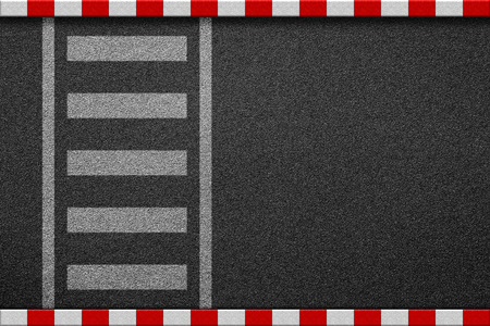 Empty crosswalk on asphalt road with red and white sign on sidewalk curb top view
