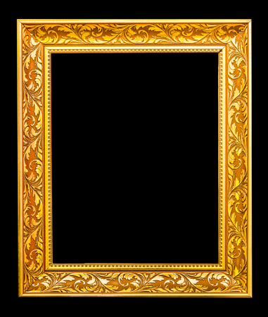 The antique gold frame on the black background Stock Photo