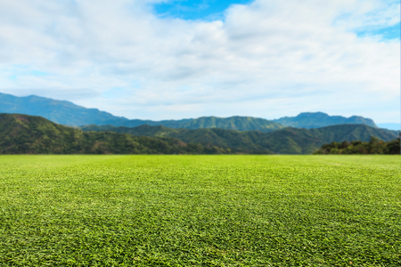 Green lawn sky and mountain background