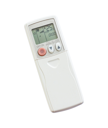 temperature controller: Remote control for air conditioner on white background Stock Photo