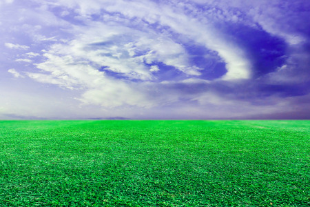 Green lawn sky background