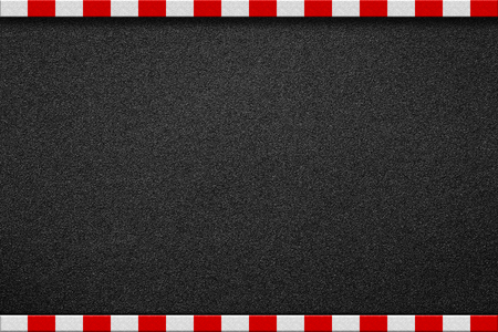 Asphalt road with red and white sign on sidewalk curb top view