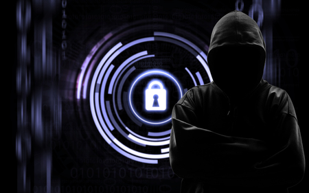 id theft: Silhouette of a hacker isloated on black with binary codes on background Stock Photo