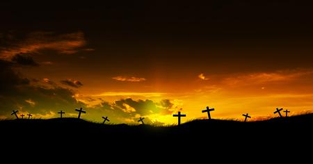 Sun rising on three Christian crosses. Stock Photo