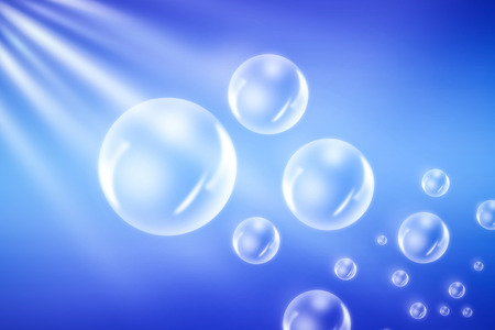 Bubbles on blue background Stock Photo