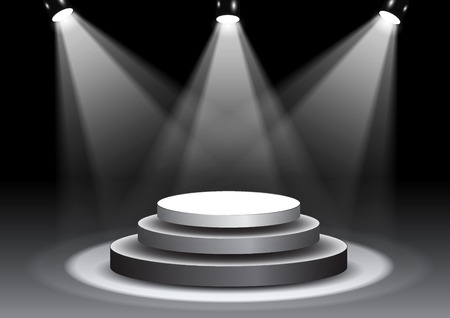 3D illustration of 3D rendering, empty stage in spotlights