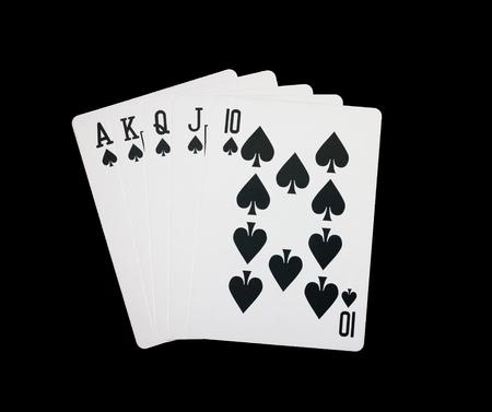 Royal flush,chips cards on black background