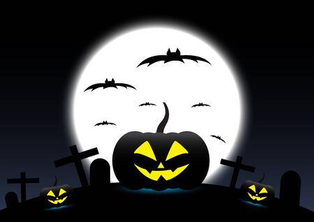 Halloween pumpkins on Moon background