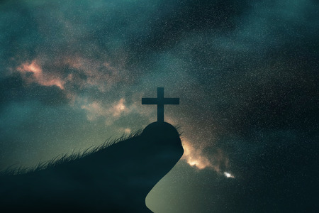 clouds and galaxy on christian crosses.