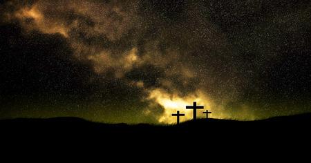 galaxy on three christian crosses.