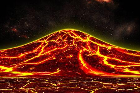 heat red cracked ground texture after eruption volcano