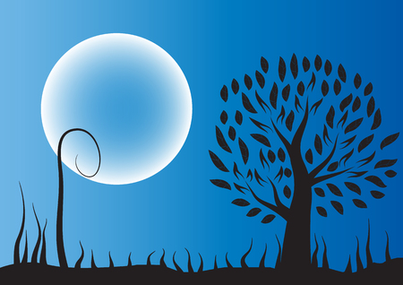 Moon tree silhouette against black background illustration.