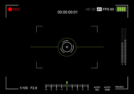 Camera viewfinder. Viewfinder camera recording. Video screen on a black background. vector illustration