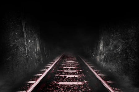 Dark tunnel of the railway