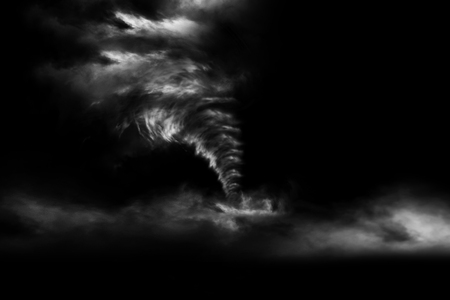 3D rendering A large storm produced a Tornado isolated on black background. 3D Illustration.