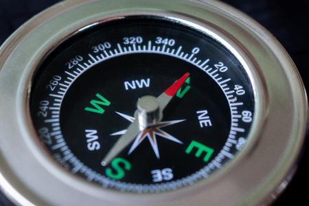 Macro focus compass on black background