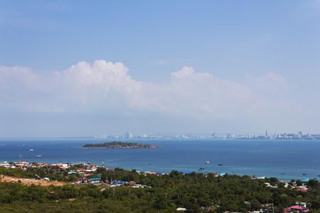 Top view of Koh Larn island in Pattaya city Thailand.