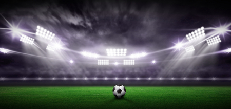 Stadium 3d rendering background, Have a football in the middle of the field.