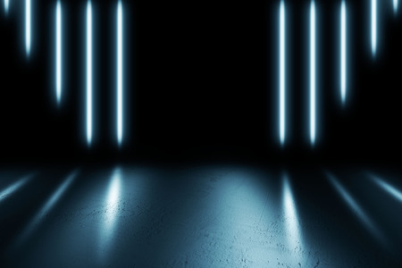Futuristic Sci-Fi Abstract Blue And Purple Neon Light Shapes On Black Background And Reflective Concrete 3D Rendering Illustration Stock Photo