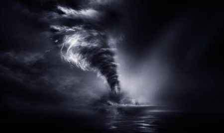 Big storms cause tornadoes in the ocean. 3D Illustration.