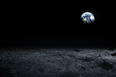 Moon surface and Earth on the horizon. Space art fantasy. Black and white. Stock Photo