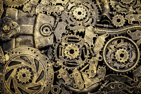 Background metal vintage machinery.
