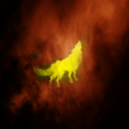 wolf, covered in flames