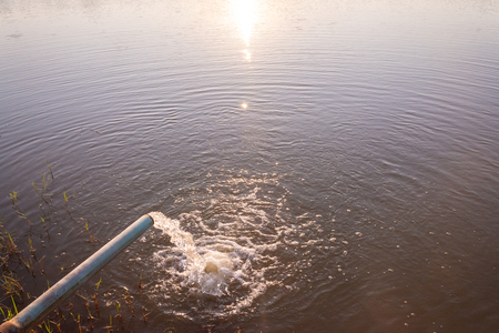 Pipe pump rush water falling in swamp