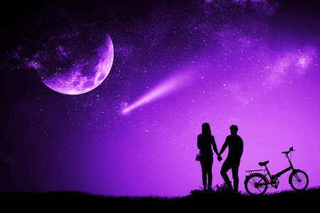 Silhouette couple man and woman holding hand moon night watching a meteor with a purple proton mixed media bike