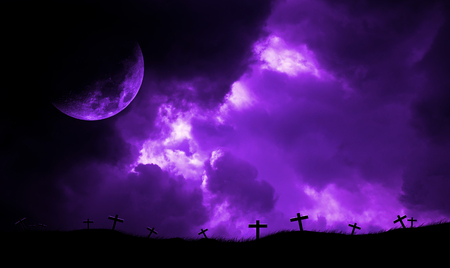 Cloud sky storm and moon on christian crosses. Purple tone. Imagens