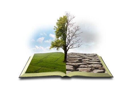 Concepto de un libro abierto. Bipolaridad. Por un lado, la naturaleza, por otro el smog y una sequía aislada sobre fondo blanco
