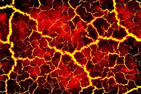 chaleur rouge fissuré la texture du sol après l'éruption volcanique