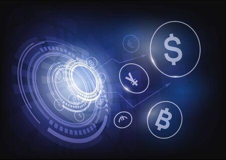 Money transfer Global Currency Stock Exchange, Vector illustration.