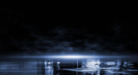3D rendering abstract dark empty scene, blue neon searchlight light, wet asphalt, smoke, night view, rays.