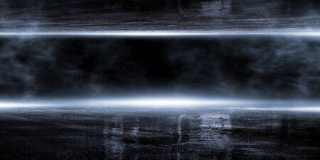 3D rendering abstract dark empty scene, blue neon searchlight light, wet asphalt, smoke, night view, rays.