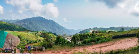 Panorama high view beautiful nature landscape of the mountain sky and forest in the morning on the hilltop viewpoint at Phu Thap Berk attractions of Phetchabun Province Thailand Stock Photo