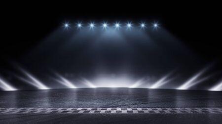 3D-Rendering abstrakte Rennstrecke Ziellinie Rennen in der Nacht