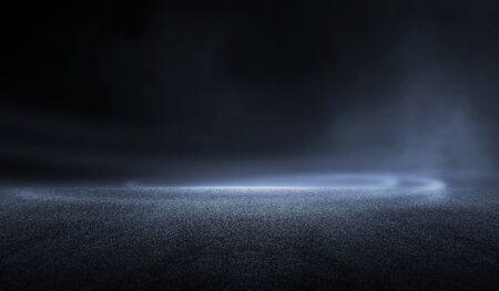 Rendu 3D abstrait nuit sombre créatif arrière-plan d'asphalte extérieur flou avec brume lumière haute vitesse Banque d'images
