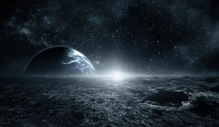 Moon surface and Earth on the horizon. Space art fantasy blue color.