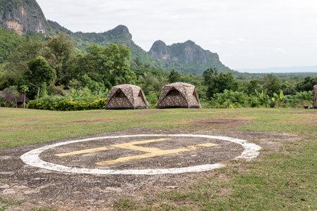 Camping area and helipad of phu pha man national park, Khon kaen.