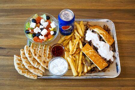 Gyros on a restaurant table Zdjęcie Seryjne - 134780469