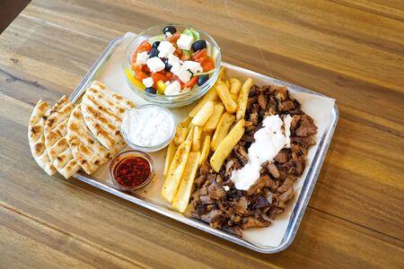 Gyros on a restaurant table