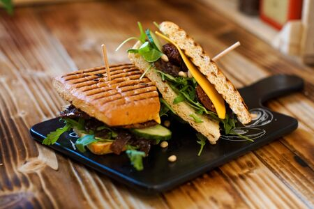Sandwich on a restaurant table Stock Photo