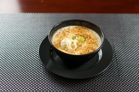 Soup on a restaurant table