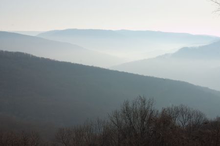 Morning valley fog and haze stretches across the Ozark Plateau in northwest Arkansas