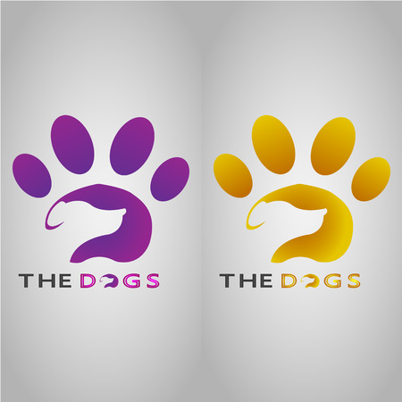 This logo shows a dog with its footprint as the background.